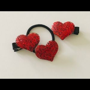 Valentines Day Hair Clip Set - Red